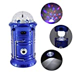 Haoerliang 3 in 1 LED Rechargeable Party Disco Light,Camping Lantern and Emergency Hand-Held Flashlight with USB Port Available,Suitable for Hiking, Camping, Fishing, Hurricanes (Blue)