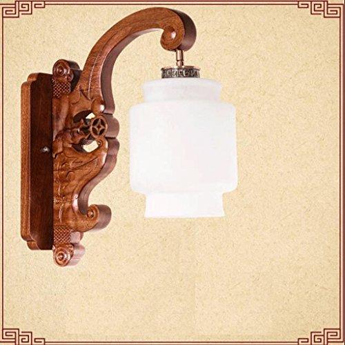 Appliques GAOLILI Solide Bois Salon Chambre Chevet Antique Escaliers en Bois Allée Creative Lampes Solide Bois, Imitation Marbre Verre Ombre (Couleur : A)