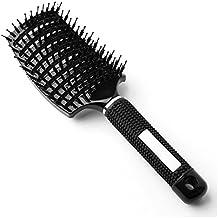 Longtrix Grande cepillo ventilado curvado para pelo, con cerdas de jabalí anti estáticas ligero suave para secar el pelo (Negro)