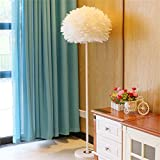 LightSei- Einfache und stilvolle gemütliche Wohnzimmer Schlafzimmer Vogel Nest schöne Feder Stehleuchte Nachttisch Lampe (Farbe : Weiß)