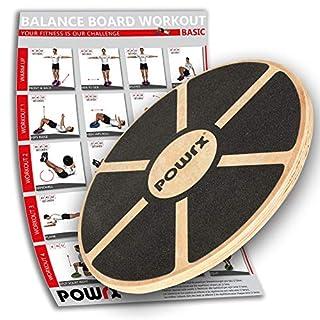 POWRX Balance Board Wackelbrett aus Holz für propriozeptives Training und Physiotherapie inkl. Workout I Therapie-Kreisel
