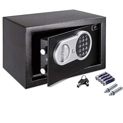 Deuba Caja Fuerte Seguridad Safe Negro Cierre electrónico 20 x 31 x 20 cm código de Seguridad Suelo...