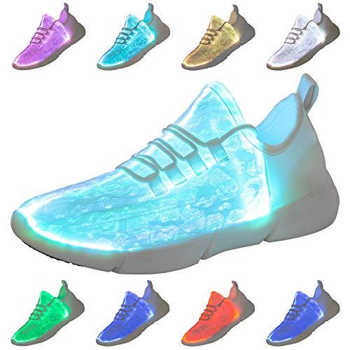 Scarpe Luminose Scarpe in Fibra Ottica Scarpe Leggere Ricaricabili USB Sneakers Luminose Multicolori Sneaker Super Leggera per Ragazzi Donna Donna Uomo(White,45)
