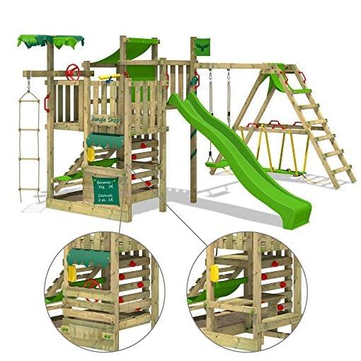 FATMOOSE Spielturm BananaBeach Kletterturm Baumhaus mit Schaukel, Rutsche und Surfanbau