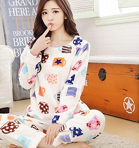 Femmes chaud et douillet Caral Fleece Pajama Set Multicolore