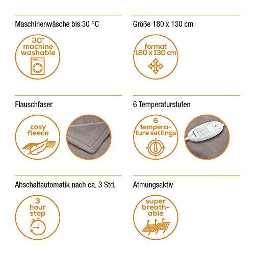 Beurer HD 75 Wärmedecke, kuschelige Heizdecke mit 6 Temperaturstufen, elektronische Temperaturregelung, 180 x 130 cm