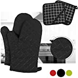 Dualeco Silicone Oven Gloves - Heat Resistant Non slip Oven Mitts with 2 Pot Holders Long Cuffs Oven Gloves For Kitchen, Cooking, Baking, BBQ By, 1 Pair Black With Pot Holders