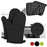 Dualeco Silicone Oven Gloves - Heat Resistant Non Slip Oven Mitts with 2 Pot Holders Long Cuffs Oven Gloves for Kitchen, Cooking, Baking, BBQ by, 1 Pair Black