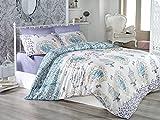 LaModaHome 3Pcs Schlafzimmer Weich Farbigen 100% Baumwolle Ranforce Single Quilt Bettbezug Set Weiches Entspanntes Angenehmes Muster Weiß und Blau Käfig Single Bett mit Bettlaken Ohne Tröster