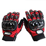 Motocross Handschuhe Motorrad Handschuh Herren Fahrradhandschuhe Taktische Handschuhe für Skifahren (Red,M)