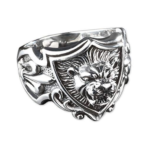 viva adorno Herren Ring Löwe 3D Lilien Wappen Daumenring 925 Sterlingsilber SR21, Gr. 63
