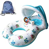 JCTT - Flotadores hinchables de doble persona mamá y bebé, piscina hinchable retráctil extraíble flotador anillo de natación bebé asiento flotante anillo bebé seguridad flotador asiento piscina juguete con toldo de parasol, blanco