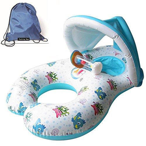 JCT Mills aufblasbar schwimmt Dual Person Mama und Baby, aufblasbares Pool Roll-abnehmbaren Float Schwimmring Baby Sitz float Ring Baby Sicherheit Float Sitz Pool Spielzeug mit Sonnendach, weiß