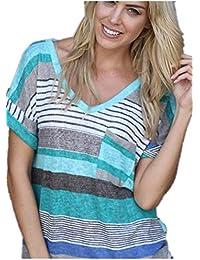 Smalltile Mujeres Verano Camisetas Pullover Casual Camisa Manga Corta  Cuello V Blusa Rayadas Patchwork Elástico Tops 1d1ea23349f4