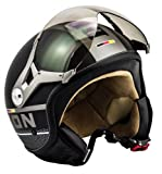 SOXON SP-325-PLUS Black · Scooter-Helm Jet-Helm Mofa Biker Vespa-Helm Pilot Roller-Helm Helmet Cruiser Bobber Vintage Chopper Retro Motorrad-Helm · ECE zertifiziert · inkl. Sonnenvisier · inkl. Stofftragetasche · Schwarz · L (59-60cm)