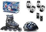 Fila X-one 010613150 Combo - Juego de patines en línea, casco y protectores para niño (talla M), color negro y azul