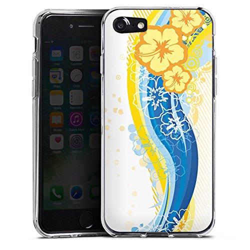Apple iPhone X Silikon Hülle Case Schutzhülle Blumen Regenbogen bunt Silikon Case transparent