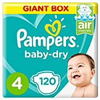 Pampers Baby-Dry Diapers, Size 4, Maxi, 8-14kg, Giant Box, 120 Count