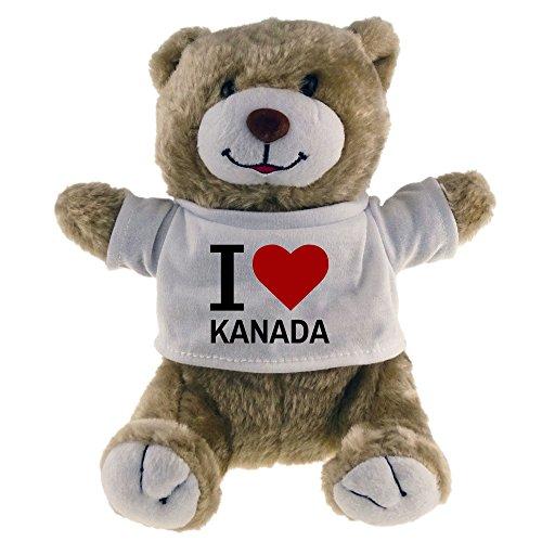 Multifanshop Kuscheltier Bär Classic I Love Kanada beige - Stofftier Püschtier Schmusetier -