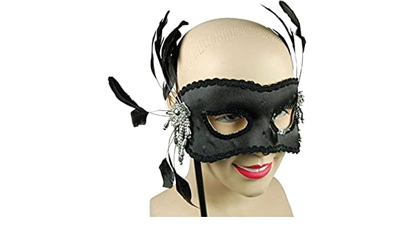 WHITE Eye Mask Maschera Occhi /& Piume su stick Masquerade Ball Party Fancy Dress