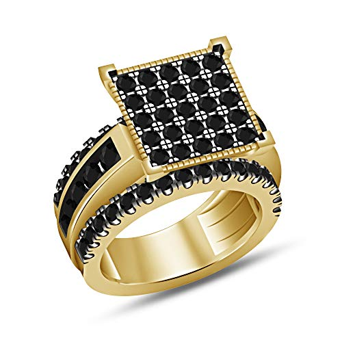 Vorra Fashion  -  925 Sterlingsilber Sterling-Silber 925 Rund Black (Accent Gold Gelb Diamond Ring)