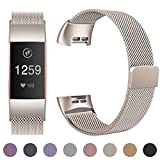 HUMENN Compatible for Fitbit Charge 3 Strap, Milanese Metal Replacement Band Fully Adjustable Wristbands with Strong Magnet Lock for Fitbit Charge3, Small Champagne