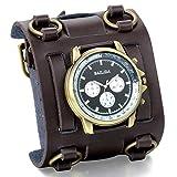 JewelryWe Herren Armbanduhr, Analog Quarz, Elegant Casual Sport Uhr mit Braun Breit Leder Armband Schwarz Zifferblatt