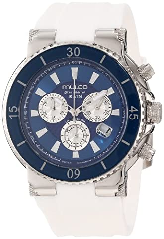 Mulco Women's 47mm White Silicone Band Steel Case Swiss Quartz Blue Dial Chronograph Watch MW370603014