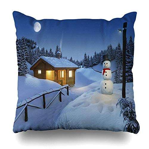 ZiJface Throw Pillows Covers Cozy Log Cottage Winter Scene Snowman Christmas Lights Big Moon Home Decor Pillowcase Square Size 18 x 18 Inches Cushion Case - Cottage Standard-quilt