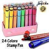 Magicdo 24 colori penne ad acquerello con timbri, pennarelli lavabili non tossici colorati per bambini da disegno, scarabocchiare e colorare