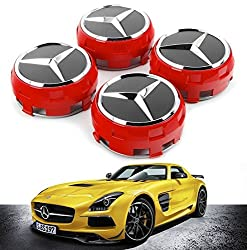 UG 4x Red Hub Caps for Mercedes 75mm Class A B C CL CLK CLA E G GL M S SL and More - for Alloy Wheel Rims