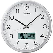 Seiko QXL007S - Reloj digital y analógico de pared de cuarzo