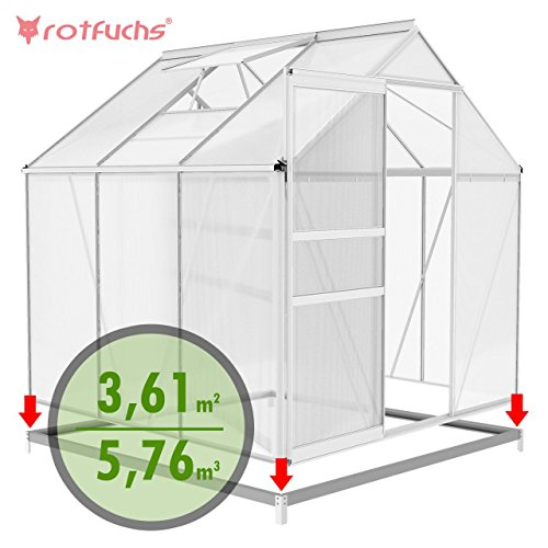 Rotfuchs® Aluminium Gewächshaus Treibhaus Frühbeet Gartenhaus Tomatenhaus Pflanzenhaus 5,76 m³ - 1,90 x 1,90 m Dachplatten 6 mm inkl. Fundament