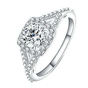 BeyDoDo Modeschmuck Vergoldet Frauen Ring Weißen Stein Zirkonia Eherring Silber Ring Partner
