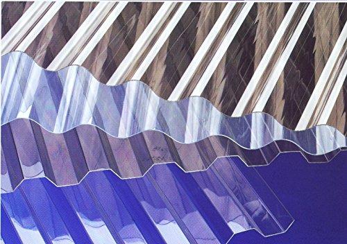 Lichtplatten Polycarbonat - Profil 76/18 Sinus (Welle) * Länge: 2000 mm - Breite: 1140 mm - Nutzbreite: 1064 mm * Stärke 0,8 mm * glasklar - Lichtdurchlässigkeit 90% * UV-...
