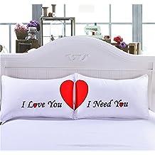 Pareja de fundas almohadas corazon love elegante diseño dormitorio, regalo recien casados, caravana, aniversarios bodas hoteles San Valentin loft de 50 x 75 cm de OPEN BUY