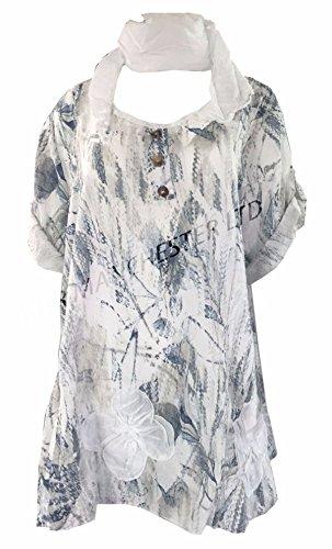 AHR Damen-Tunika und -Tie-Dye-Schal, Lagenlook, italienisches Leinen/Baumwolle, weit geschnittenes Oberteil Gr. Einheitsgröße(42-50), weiß (Weiße Baumwoll-kleid Für Tie Dye)
