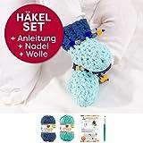 Häkel-Set DIY Babyschuhe inkl. einfacher Häkelanleitung + natürlicher Wolle (vegan), Geburt, Geschenk, Baby, Handarbeit Farben: (blaubeere, meerblau, mit Nadel)