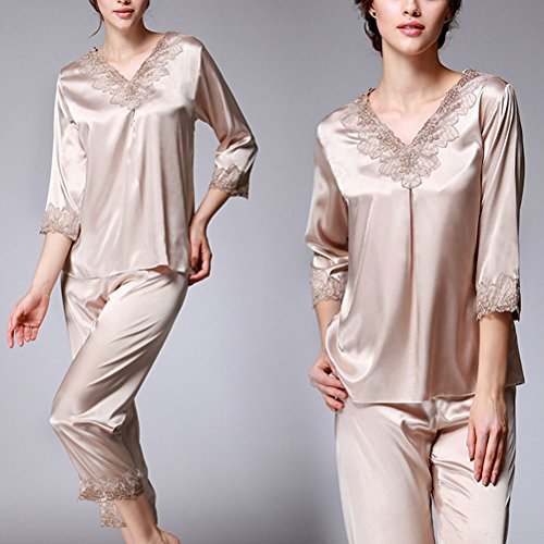 Zhhlaixing Luxury Pajama Set Womens Comfortable V-collar Sleepwear Home Clothing Camel
