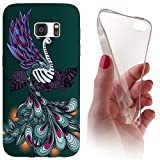Samsung S6 Edge G925 Softcase Hülle Cover Backkover Softcase TPU Hülle Slim Case für Samsung Galaxy S6 Edge G925 (1117 Pfau Vogel Cartoon Grün Lila)