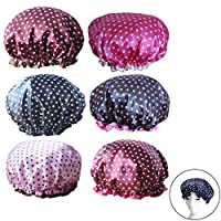 6Pcs Assorted Satin Shower Caps, Creatiees Waterproof Elastic Band Bath Cap Bathing Hair Cap Kitchen Cap with Double Layer for Adults(Dots Style)