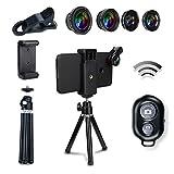 AFAITH 6-in-1 Handy-Kamera Objektiv-Kit, Bluetooth Fernbedienung + Mini Stativ + Fisch Auge + Weitwinkel + Makro Objektiv + 2X Teleobjektiv für iPhone 7/7 Plus / 6s / 6/5, Samsung Galaxy S8 / S7 / S7 Edge PA073