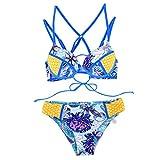 Luckycat Mujeres Bikinis Conjuntos Fantasía Push-Up Triángulo Bañador Coloridos Cuello Halter Deja la Impresión Ropa de baño 2pcs Tops Shorts