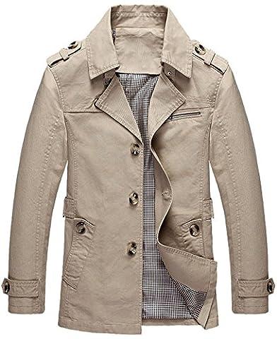 Mochoose Trench Coton Blouson Classique Col à Revers Veste Bouton Manteau Manches Longues Homme(Kaki