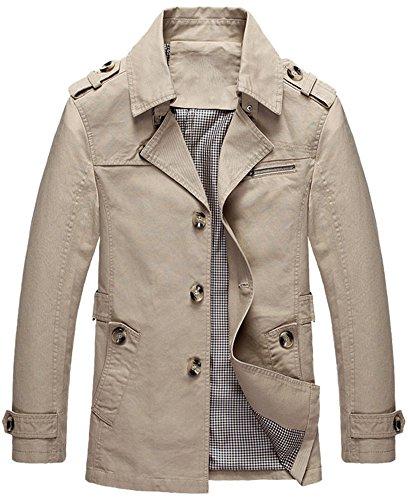 Mochoose Herren Trench Baumwolljacke Klassische Reverse Kragen Knopf Mantel Jacke Langarm(Leichtes Khaki,XS)