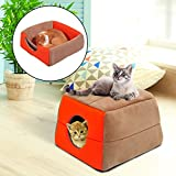 Cama Cojin 2 en 1 Caseta para Gatos Camas Mascotas 41x41x32cm Suave 2 Color NUE (Crema y naranja)