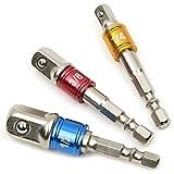 Adaptador de llaves de vaso (3 piezas)/el juego de extensión convierte el taladro en un desatornillador de alta velocidad. Tamaños disponibles: 1/4', 3/8' y 1/2'
