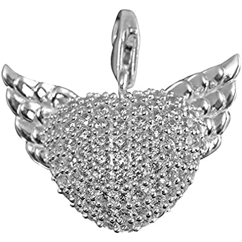 Thomas Sabo T0112-051-14 Colgante de corazón con alas, plata con circonita blanca