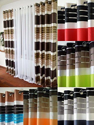 FK-Lampem Blickdicht Ösenvorhang Ösenschal Schal Dekoschal für Fenster Dekorative Gardine viele Farben Streifen 2er Set Vorhänge mit Ösen 145x250 cm GP2 (P8)
