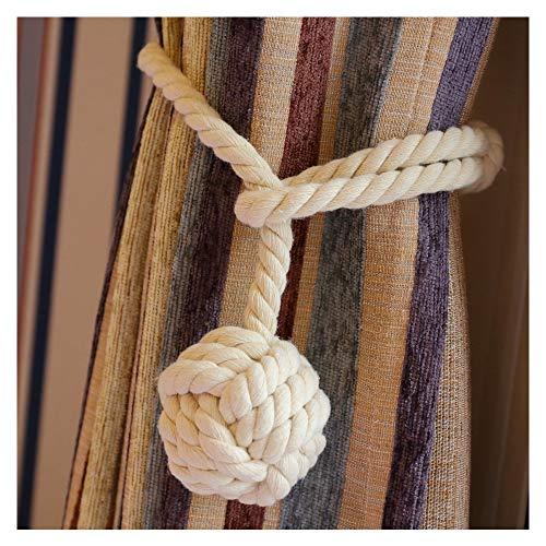 Vankra Coppia di fermatende con nappa fatti mano corda di cotone bianco